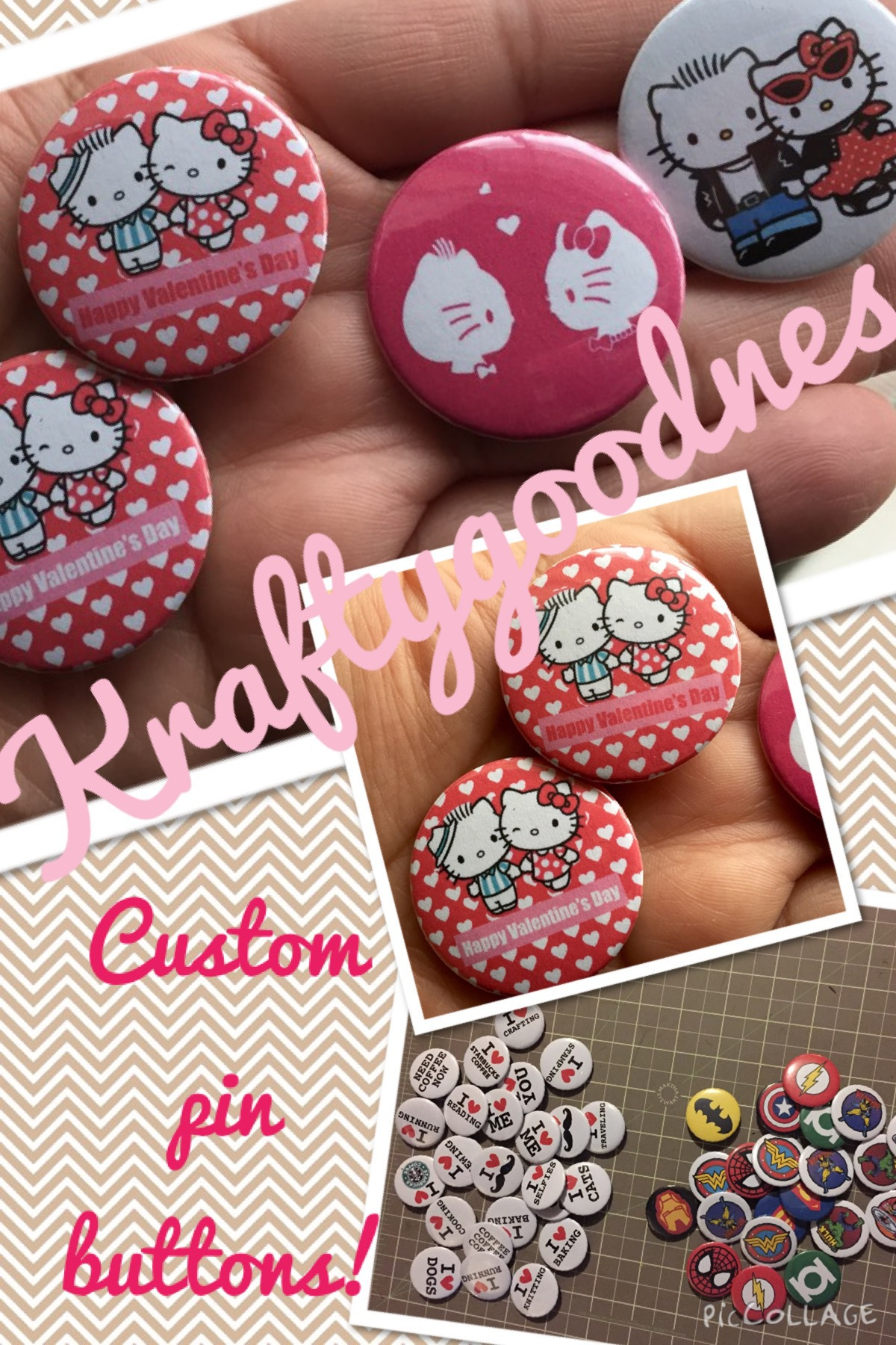 Hello Kitty Pin Buttons